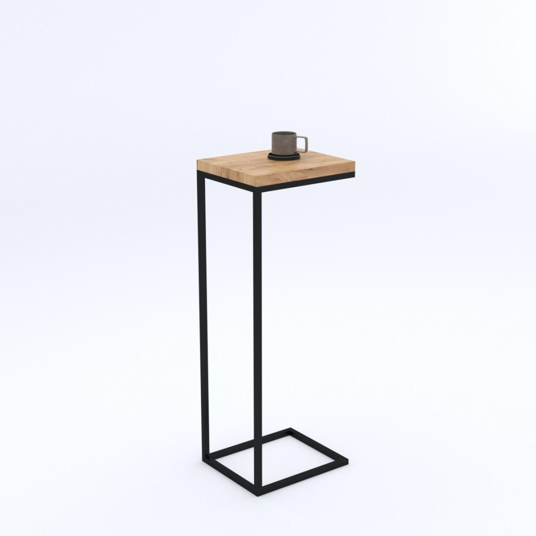 Industrialny dębowy stolik pomocniczy LUCCA 25X30X70 loft