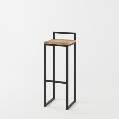 Loftowy metalowy hoker stołek barowy z oparciem TIVOLI 30x30x75