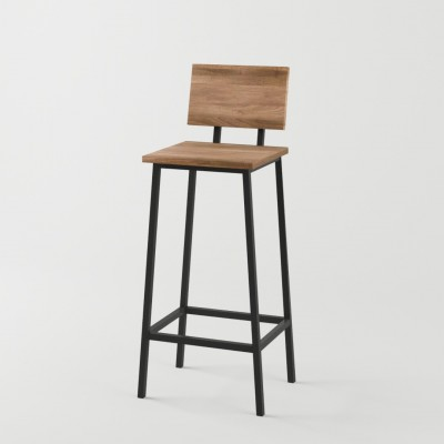 Loftowy metalowy hoker stołek barowy z oparciem TERAMO