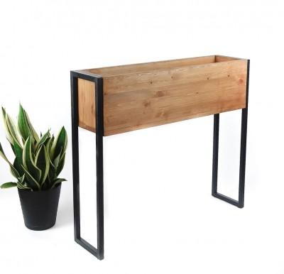 Nowoczesna osłona na donice z drewna i metaliu TRAPANI 60x20x70